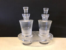 Lalique France French Crystal Double Perfume Bottles in Tray Stand