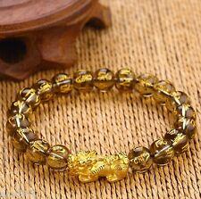 NEW Pure 24K Yellow Gold Bracelet 3D 1g Bless Pixiu&10mm Lucky Smoky Quartz Bead
