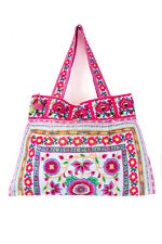 Fair Trade Unique Hmong Embroidered Tote Bag Large Size from Thailand in White