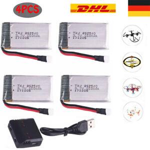 4 Stück 650mAh 3,7V Akku + USB Ladegerät für Syma X5C X5C X5SC X5SW Drohne BC685