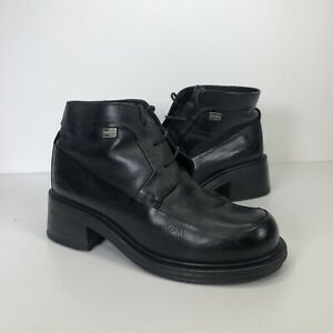 Vintage Kickers Leather Ankle Boots Chunky Square Toe Platform 90s UK 5