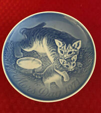 "Mors Dag 1971 Copenhagen 6"" Plate B&G Mothers Day Made in Denmark Cat w/ Kitten"