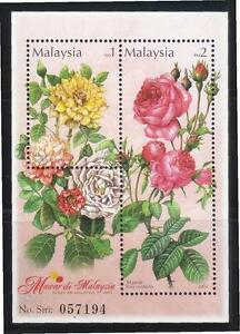 MALAYSIA 2003 ROSES IN MALAYSIA SOUVENIR SHEET OF 2 STAMPS SC#917 IN MINT MNH
