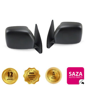 Pair of Black Manual Door Mirrors Left & Right for Toyota Hiace SBV 1995-2003