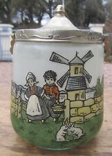 SUPERBE ANCIEN POT A BISCUIT DECOR EMAILLE MOULIN BRETON
