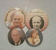 4 vintage pin badge Jean-paul 2, prince william, André,  trudeau