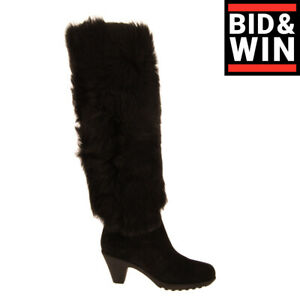 RRP €980 HOGAN Sheep Fur & Leather Knee High Boots EU 35 UK 3 US 5 Made in Italy