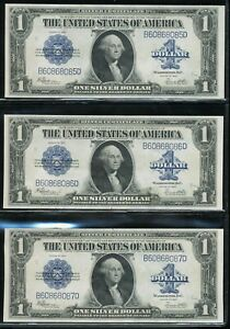 (3) 1923 $1 Large Size Silver Certificates *Consecutive Serial Numbers!*