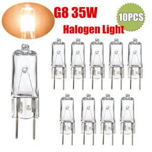 10 Pack G8 T4 35W Base Bi-Pin Clear Halogen Light Bulb 120V 2700K Dimmable