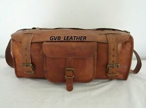 Men well made Genuine Leather Duffel Travel Weekend Overnight Luggage Holdall
