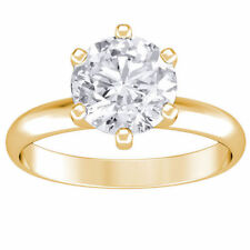 1.00 ct ROUND CUT solitaire diamond engagement Ring 14k YELLOW GOLD H VS2