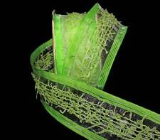 "3 Yards Lime Green Yarn Fringe Semi Sheer Wired Ribbon 1 1/2""W"