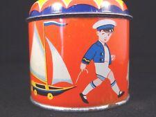 Ancien jouet mécanique tôle moulin musical voilier marin moussaillon enfant 1950