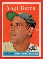 1958 Topps #370 Yogi Berra EX/EX New York Yankees Hall of Fame FREE SHIPPING