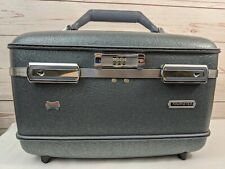 Vtg American Tourister Hard Makeup Case Vanity Cosmetic Combination Lock Blue
