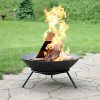 "Sunnydaze 22"" Fire Pit Cast Iron with Steel Finish Raised Portable Fire Bowl"