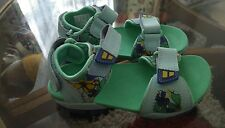 New Infant boys Clarks Zalmo Word blue Combi leather sandals, blue, size 10F