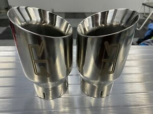 "RTR Silver 4"" Exhaust Tips For Ford Mustang GT V6 Eco boost F-150"