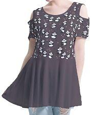 Panda Hearts Women Cutout Shoulder Tunic Blouse Mini Dress b42 acc04314