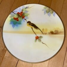 "Nippon Perched Yellowhammer Hand Painted Vintage Porcelain Plate 7"" Round"