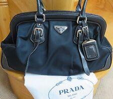 Prada Nylon Leather Frame Bag Handbag -100% Authentic