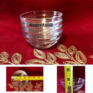 4 Small Round Glass Stackable Prep Bowls 3.5  MAILED IN BOX
