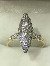 14k Gold Vintage Diamond Ring In A Marquise Shape