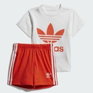 adidas Originals red / white Trefoil shorts & tee summer set. Age 18-24 Months
