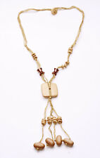 NATURAL STRINGS, WOODEN & COPPER BEADS SQUARE PENDANT DREAMCATCH NECKLACE (ZX39)