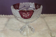 CRYSTAL SWIRL GLASS COMPOTE / CANDY DISH WITH FROSTED EDGE AND RUBY ACCENTS