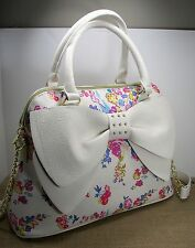 BETSEY JOHNSON Pearl of a Girl Dome Purse - White Bow - Pink Floral - MSRP $98