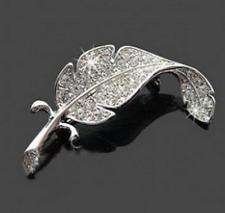 Silver Diamante Rhinestone Crystal Leaf Pin Brooch Wedding Bouquet Party Broach