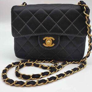 Authentic CHANEL Black Quilted Satin Classic Small Single Flap Shoulder Bag