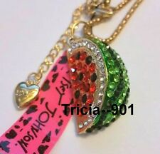 Best Seller! Betsey Johnson Crystal Watermelon Necklace & Free Gift