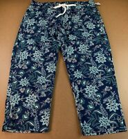 Old Navy Size 2X Plus Mid-Rise Slim Wide-Leg Lighweight Chinos Navy Floral NWT