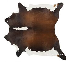 Chocolate & White Brazilian Cowhide Rug Cow Hide Area Rugs Leather Size XL