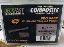 "DeckFast Deck Screws 10 X 2-1/2"" Weatherd Wood/Leather #31 1750 Ct Free Shipping"