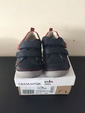 Clark's Boys Toddler Shoes 5.5F Navy Leather Softlytoby With Box