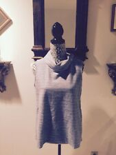 Nwt Mercer & Madison Blue And Ivory Sleevless Top With Insert In Back Sz L