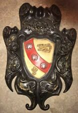 SHIELD COAT Of ARMS KNIGHT Medieval Style Fluer 1969 Wall Decor Plaque Metal Vtg