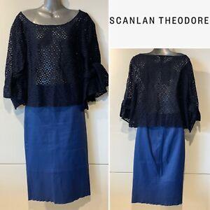 SCANLAN THEODORE $800 Stretch Leather Pencil Skirt Blue, Below Knee 8 AUST/4 US