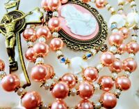 Beautiful Vatican Style Rose Pink Mary Cameo Pearl Benedict Rosary Swarovski