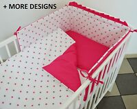 3 PC PINK/GREY STARS BABY BEDDING SET COT- COT BED INC BUMPER+PILLOW/DUVET CASE