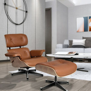 Walnut TAN Eams Lounge Chair & Footstool Real Leather Armchair For Living Room