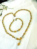 Vintage Amber Crystal Bead Necklace & Bracelet Set