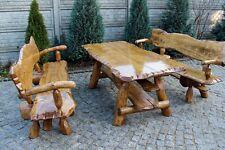 Tisch mit  4 Stühlen Massivholz Terrassenmöbel  Sitzgarnitur Kiefer/Eichenholz