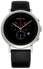 NEW Genuine Bering Gts S/S Black faced  watch on Black Leather  10540-402 £199