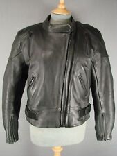 ASHMAN BLACK COWHIDE LEATHER BIKER JACKET WITH REMOVABLE PADS/2ND LINING SIZE 16