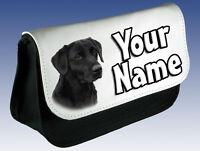 BLACK LABRADOR DOG PERSONALISED PENCIL CASE / MAKE UP BAG - GREAT NAMED GIFT