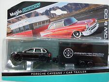 Porsche Cayenne + Car Trailer, Maisto Tow & Go 1:64